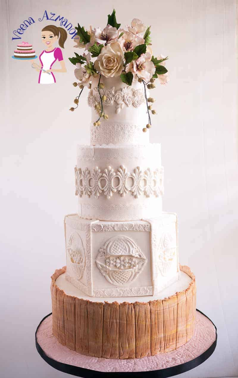 Cosmos Lace Inspired White Wedding Cake