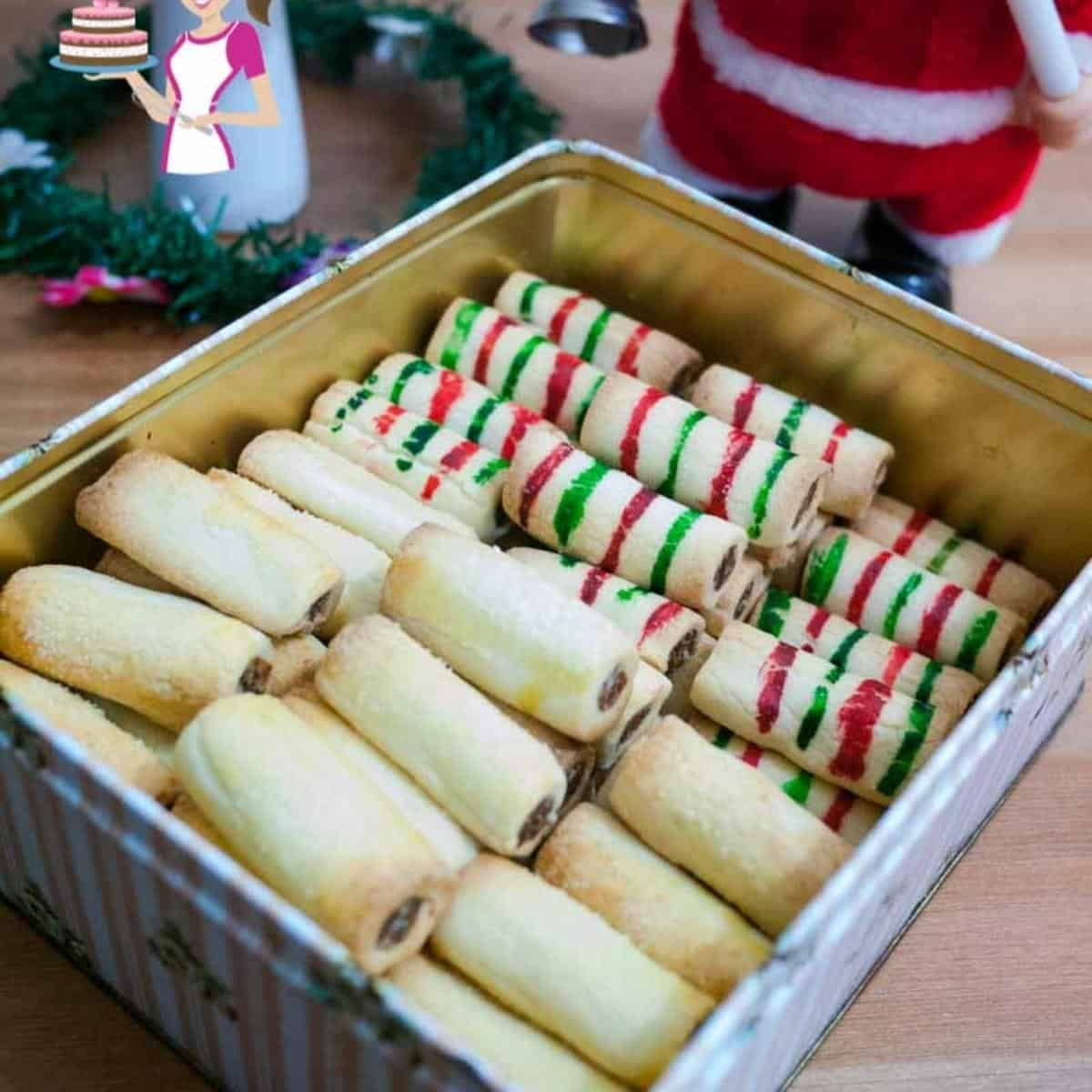 A cookie box with holiday cookies