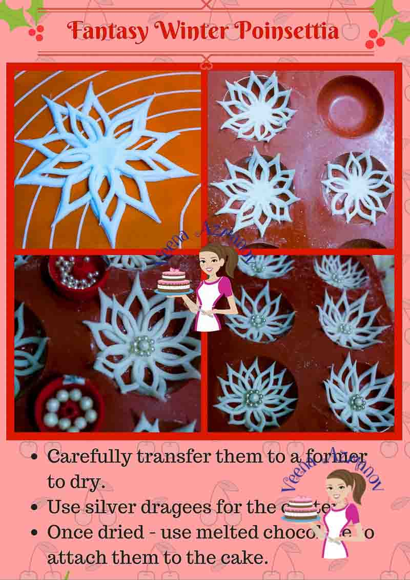 This fantasy winter Poinsettia tutorial is a quick way of making a poinsettia like flower for a winter theme cake. Its' simple easy and quick to make with a huge wow factor. Here's how I made mine.