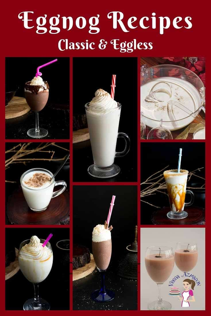 A collection of homemade eggnog recipes from classic eggnog to eggless eggnog nog as well as exotic cherry eggnog and rich chocolate eggnog