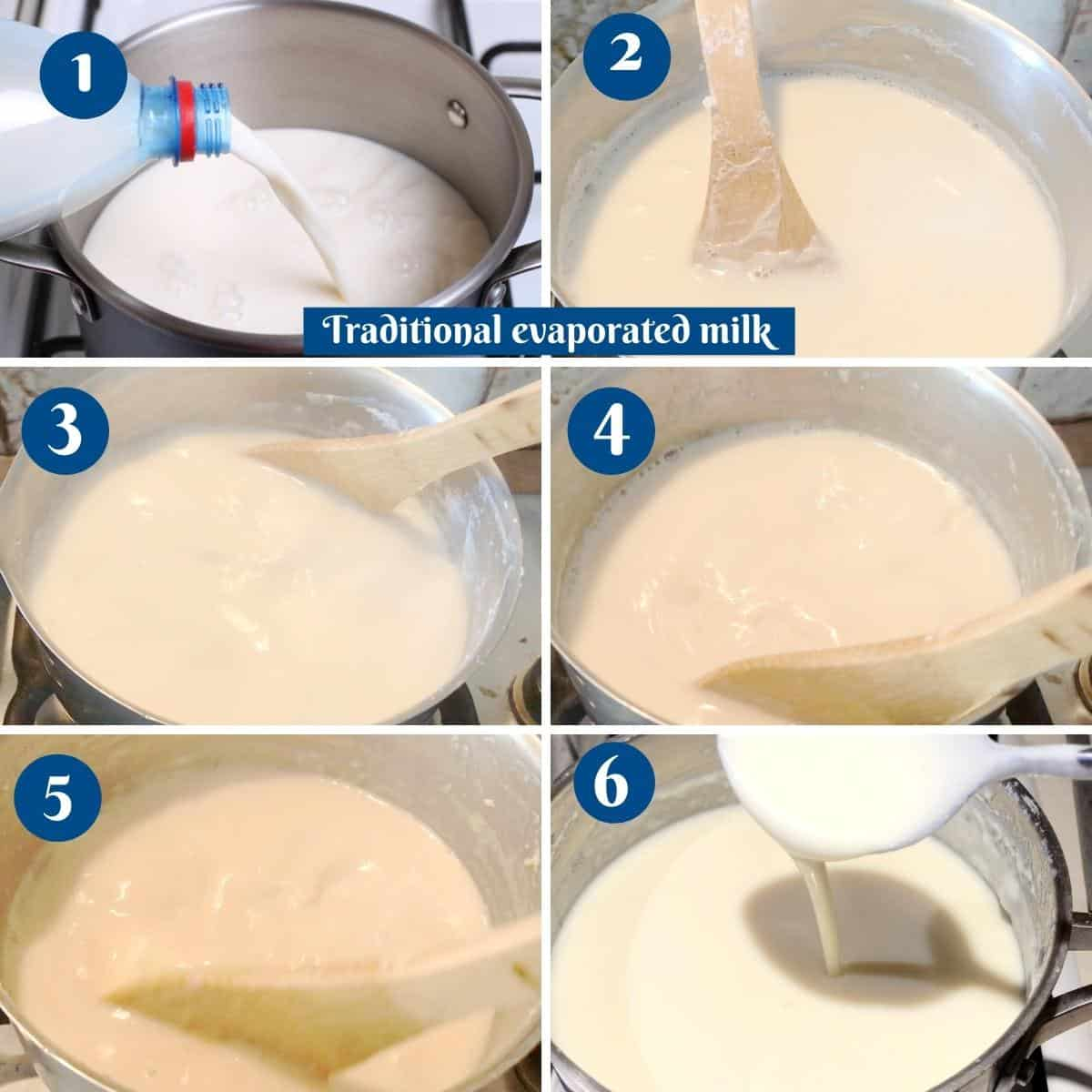 Progress pictures collage for traditional evaporated milk.