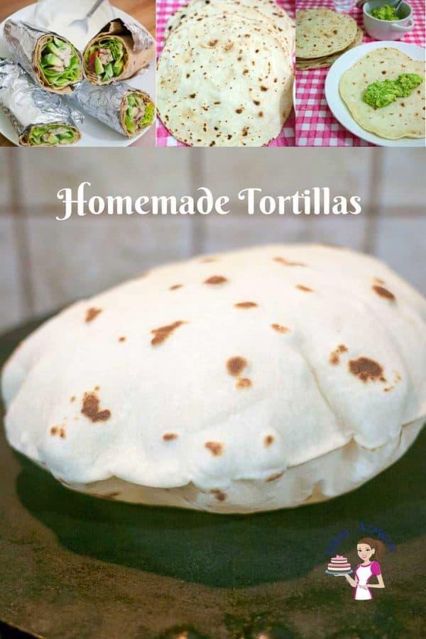 A Pinterest Optimized Image for homemade healthy tortillas aka best homemade tortilla recipe