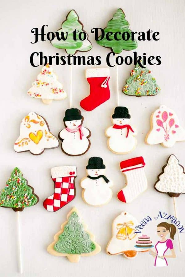 An assortment of decorated Christmas cookies.