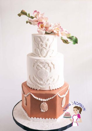 Sugar Orchids and Lace Inspired Wedding Cake