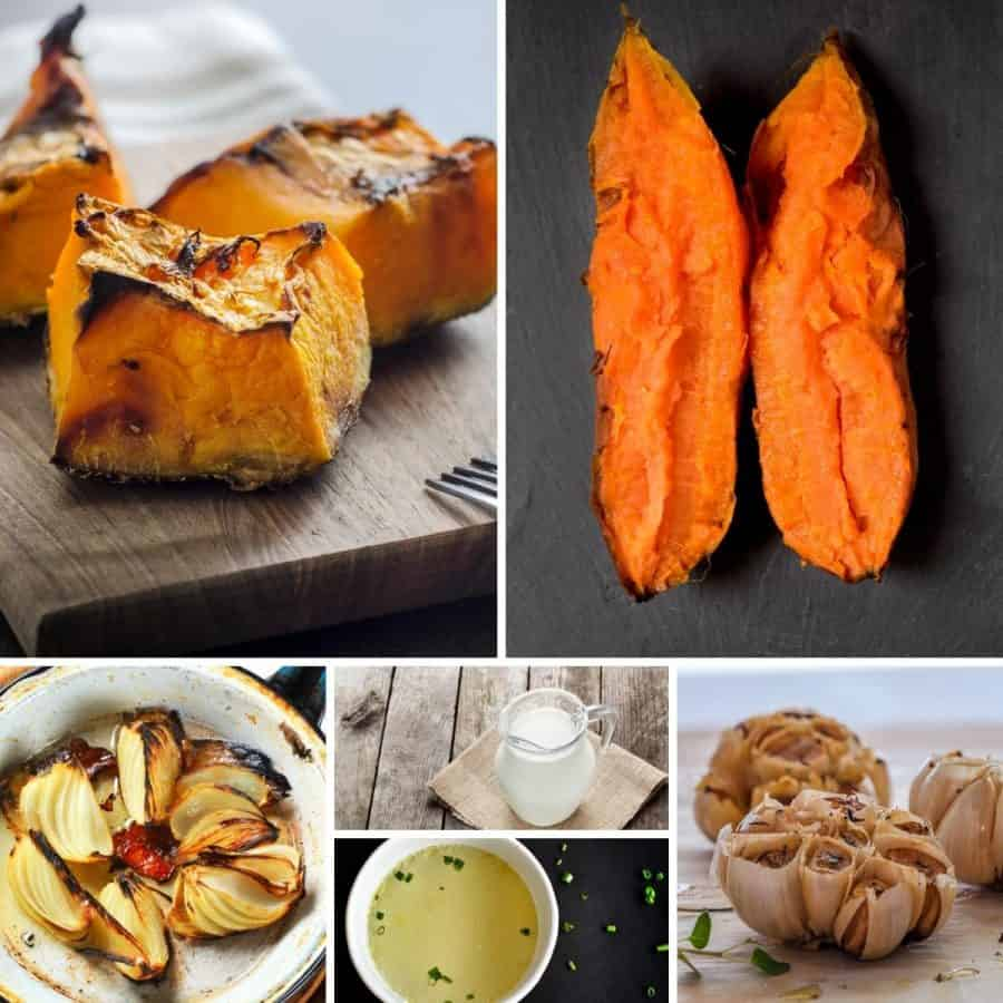 A collage of the ingredients for making pumpkin and sweet potato soup.