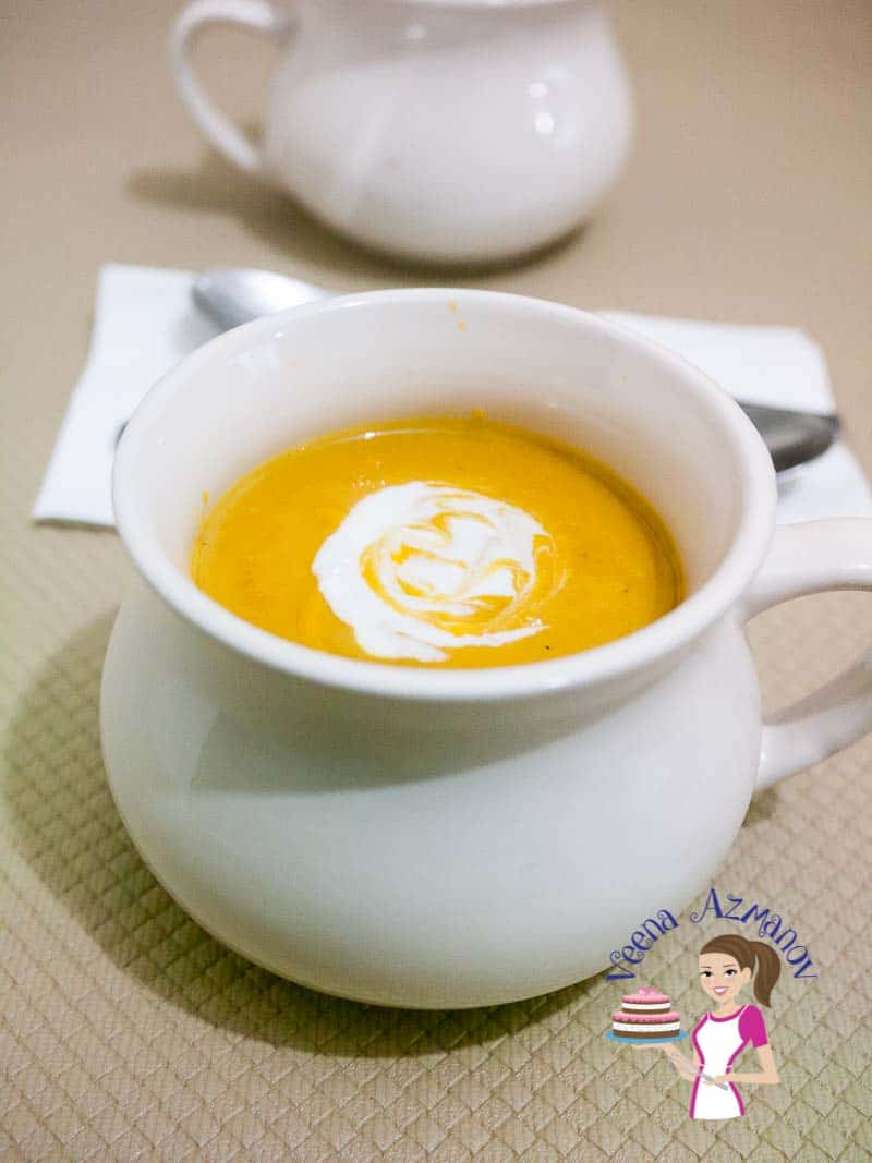 This Roast Pumpkin and Sweet Potato Soup is the simplest and easiest soup recipe that you can make. Roasting the veggies brings out the sweetness of the vegetables and adds to the velvet texture of the soup.