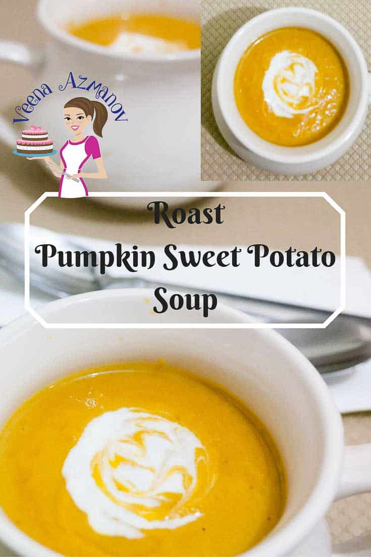 This Roast Pumpkin Sweet Potato Soup is the simplest and easiest soup recipe that you can make. Roasting the veggies brings out the sweetness of the vegetables and adds to the velvet texture of the soup.