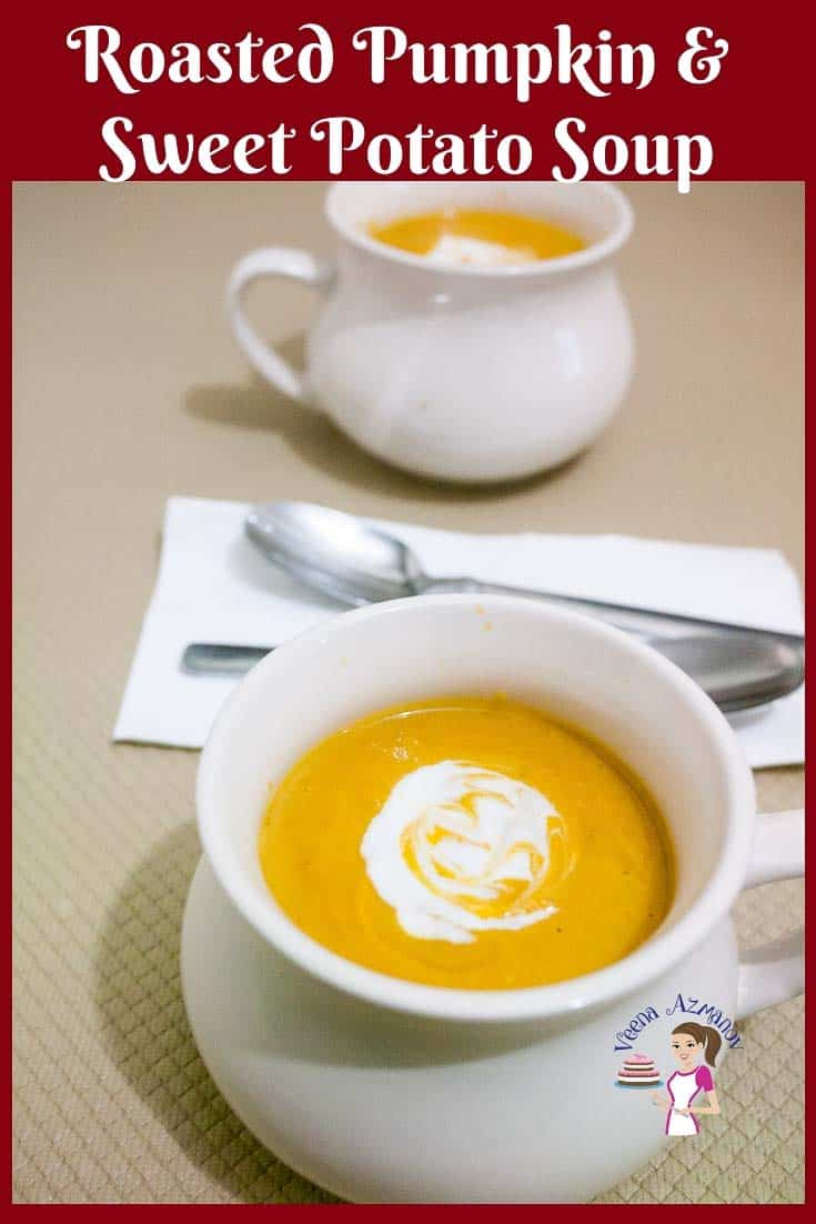Homemade healthy soup with roasted veggies of pumpkin and sweet potato with no cream and no butter
