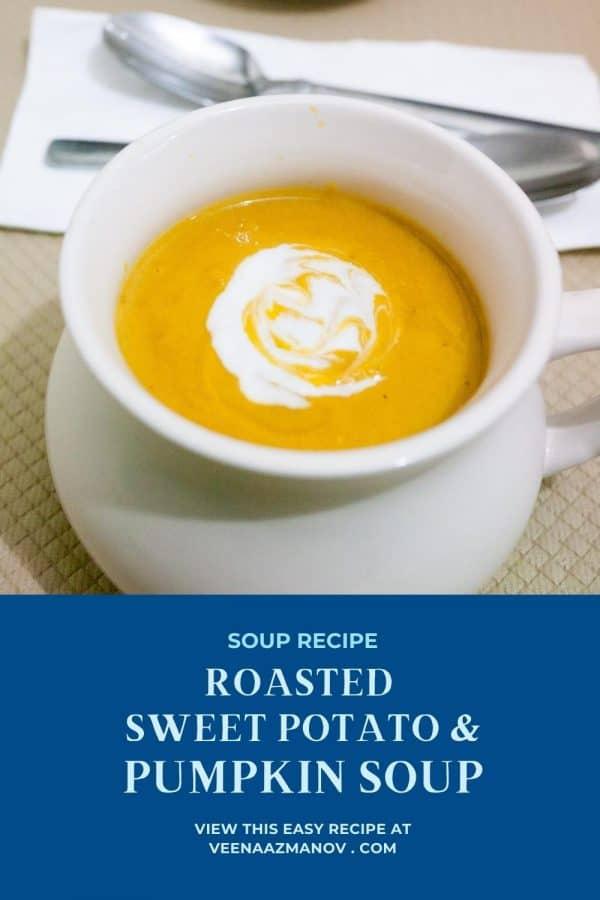 Pinterest image for pumpkin sweet potato soup.