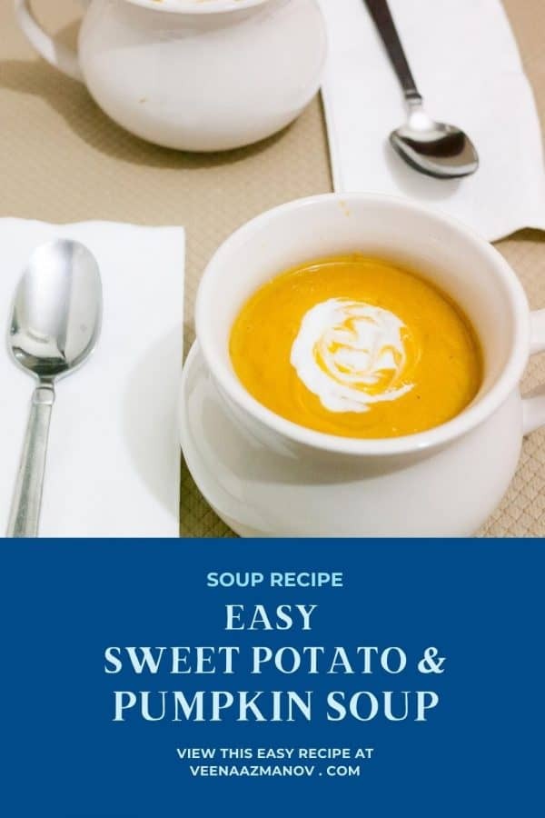 Pinterest image for pumpkin soup with sweet potato.