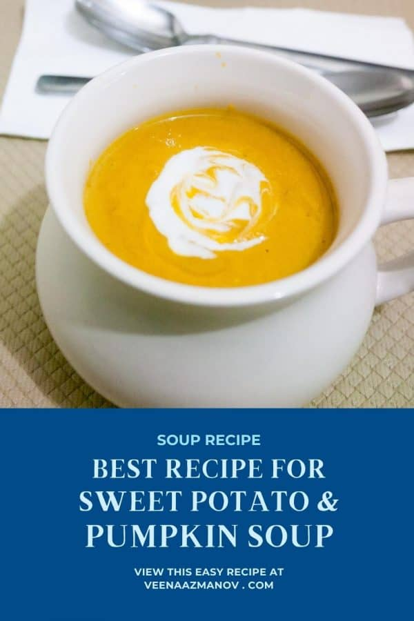 Pinterest image for soup with pumpkin and sweet potato.