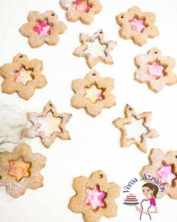 Snowflake shaped Christmas cookies.