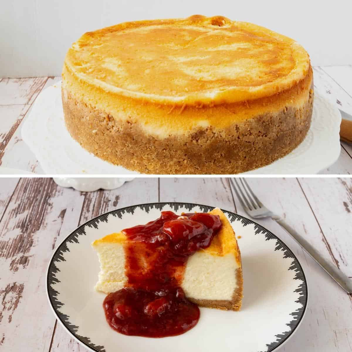 Progress pictures collage for cheesecake with strawberries.