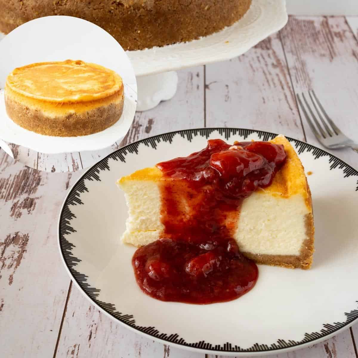 A slice of cheesecake topped with strawberry filling.