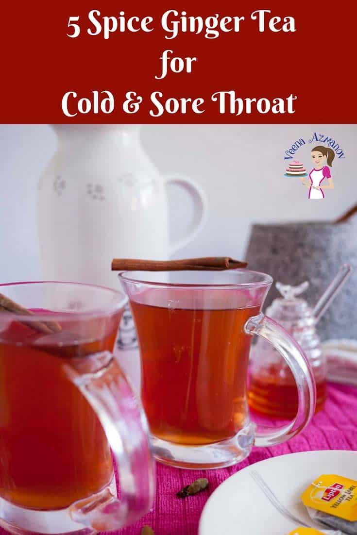 An image optimized for social sharing for this 5 spice ginger tea for cold and sore throat in winter.