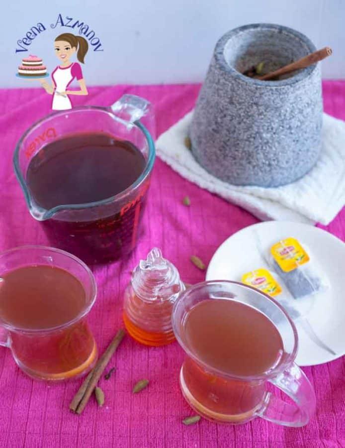 Glasses of spice ginger tea.