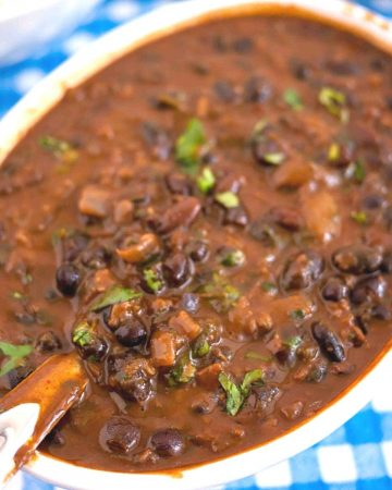 black beans coconut curry in a pan.