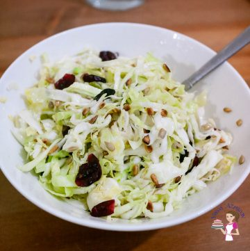 A white bowl with white cabbage