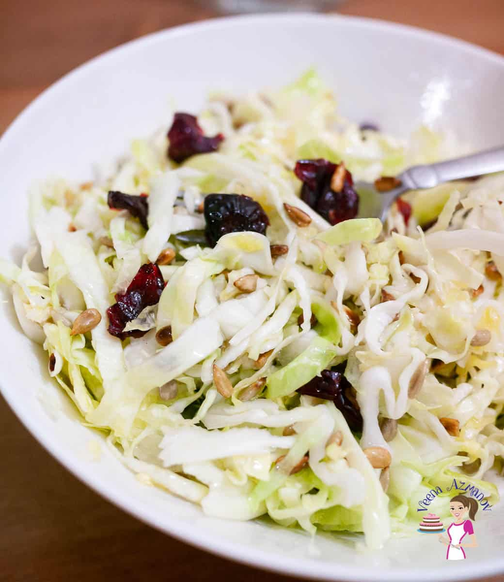 A ceramic bowl with cabbage salad