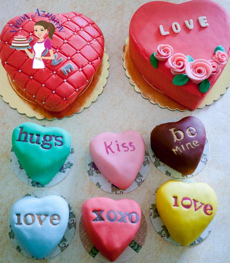 These Valentine Conversation Heart Cakes are perfect give away treats for Valentine Day Celebration. Say more with little words of love. In this video I show you how simple and easy they are to create with tools or freehand.