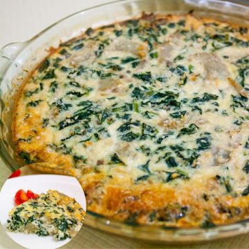 Homemade Quiche with kale, artichokes and cheese