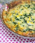 An image optimized for social sharing for this crustless Swiss chard quiche or no-crust quiche using amazing Swiss chard