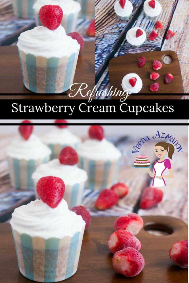These strawberry cream cupcakes are so refreshing and light because they are topped with some delicious fresh whipped cream rather than a heavy buttercream frosting and topped with a pretty strawberry for added flavor.