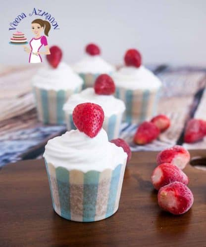 These strawberry cream cupcakes are so refreshing and light because they are topped with some delicious fresh whipped cream rather than a heavy buttercream frosting and topped with a pretty strawberry for added flavor
