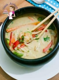 This is my cheats way of eating comfort food with very little ingredients on hand? Thai Prawn Noodle Soup recipe uses frozen prawns, Thai curry paste, canned coconut milk and a few ingredients you can find at home to make this comforting soup.