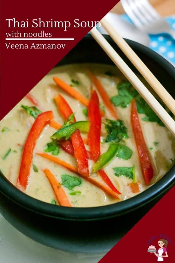 A bowl of Thai noodle soup with prawns.