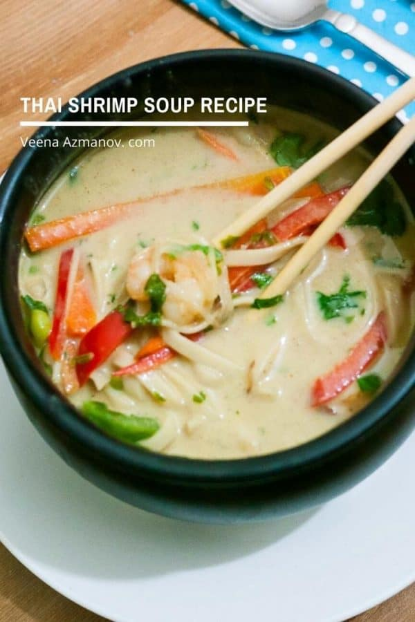 How to make a Shrimp Soup with Thai Curry Paste and Noodles