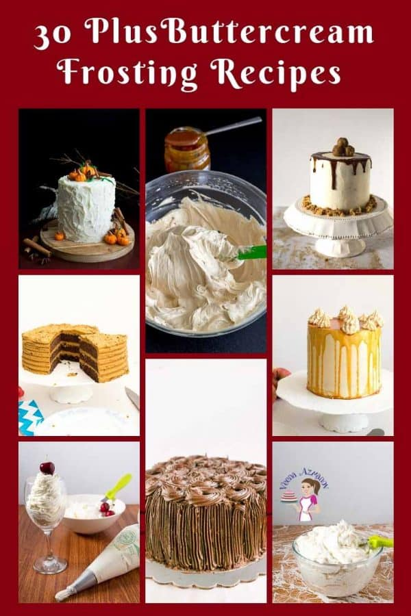 A collage of buttercream frosting recipes.