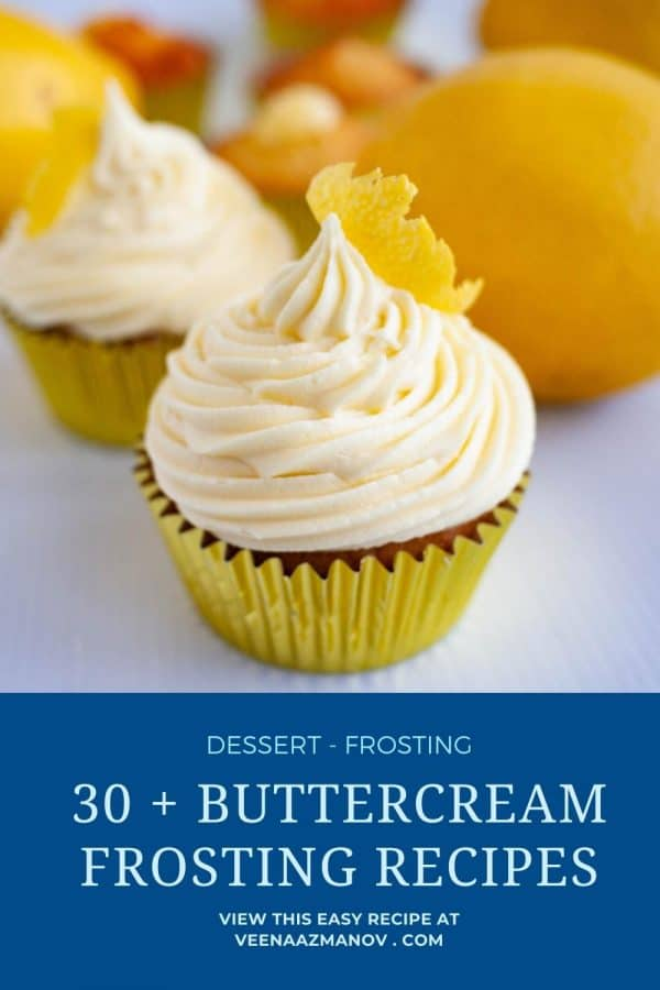 Pinterest image for buttercream frosting recipes.