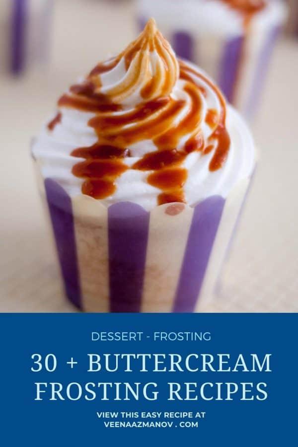 Pinterest image for 30 plus buttercream recipes.