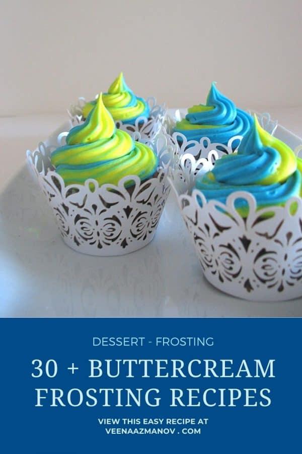 Pinterest image for 30 buttercream recipes.