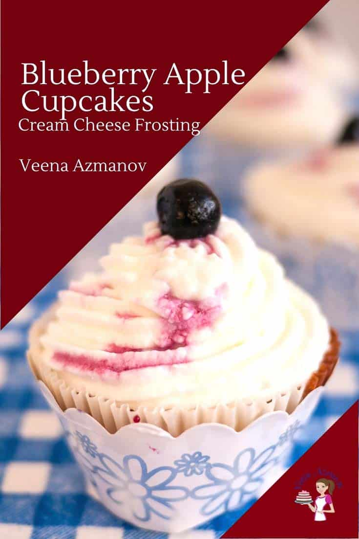 How to make moist apple cupcakes with Blueberry Filling and cream cheese frosting