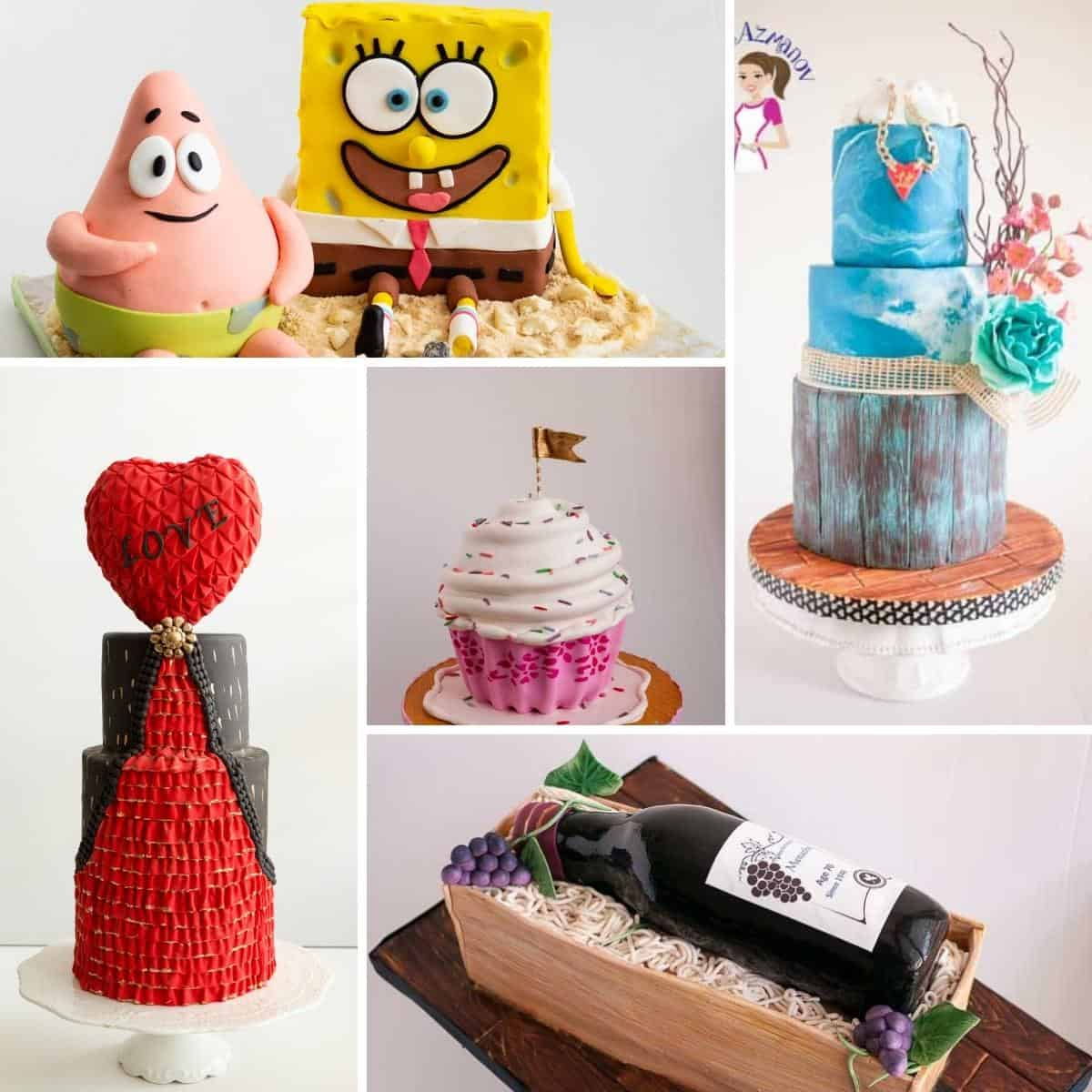 A collage of decorated cakes.