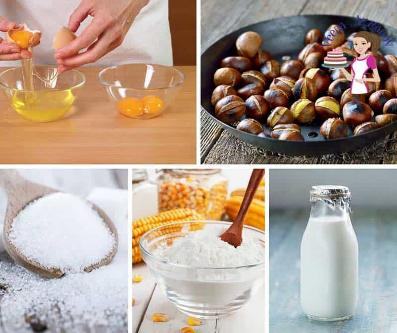 A collage of the ingredients for making chestnut mousse.