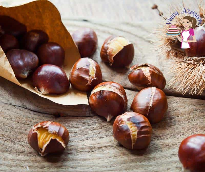 Roasted chestnuts on a table.