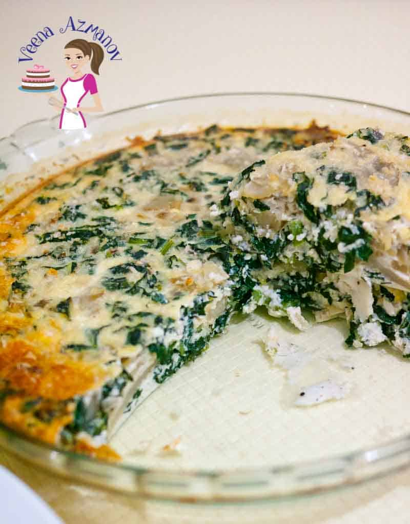 This is a simple and easy recipe for crustless kale artichoke ricotta quiche. The ricotta is a clever way to skip the extra calories and still provides the thickness needed to make this quiche creamy and melt in the mouth. The kale and artichoke is packed with flavor and nutrition.