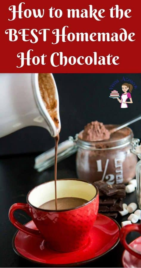 A Pinterest Optimized Image for the BEST Homemade Hot Chocolate Recipe - featuring a pouring shot of hot chocolate