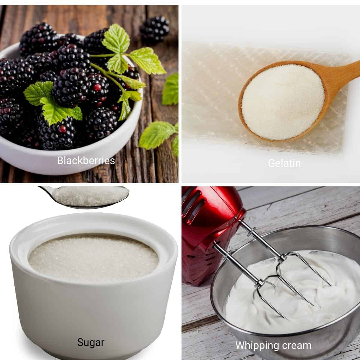 Ingredients for blackberry mousse.