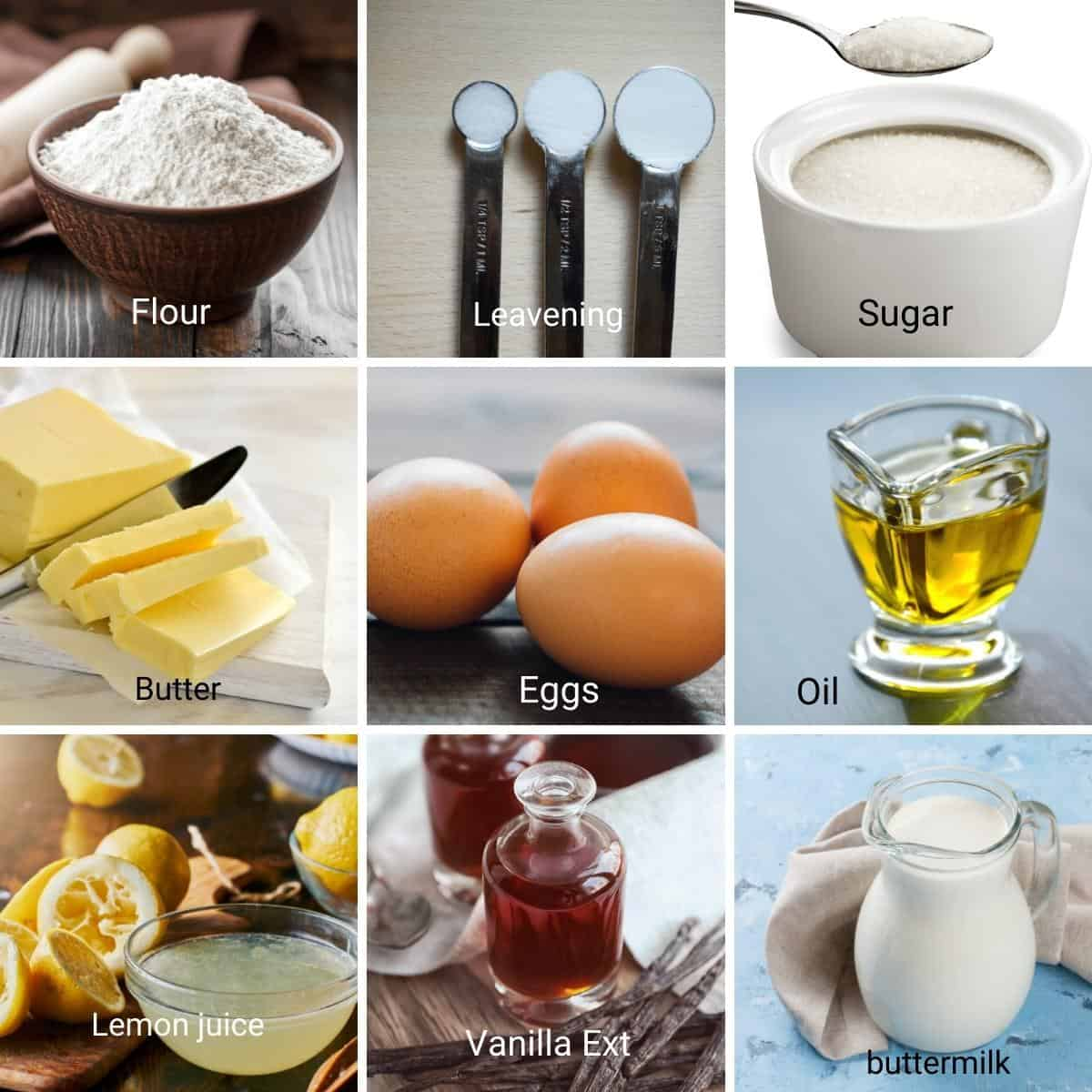 Ingredients for lemon cupcakes.