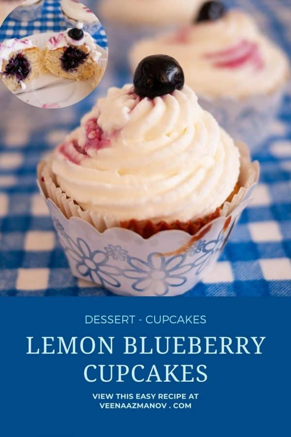 Pinterest image for lemon blueberry cupcakes.