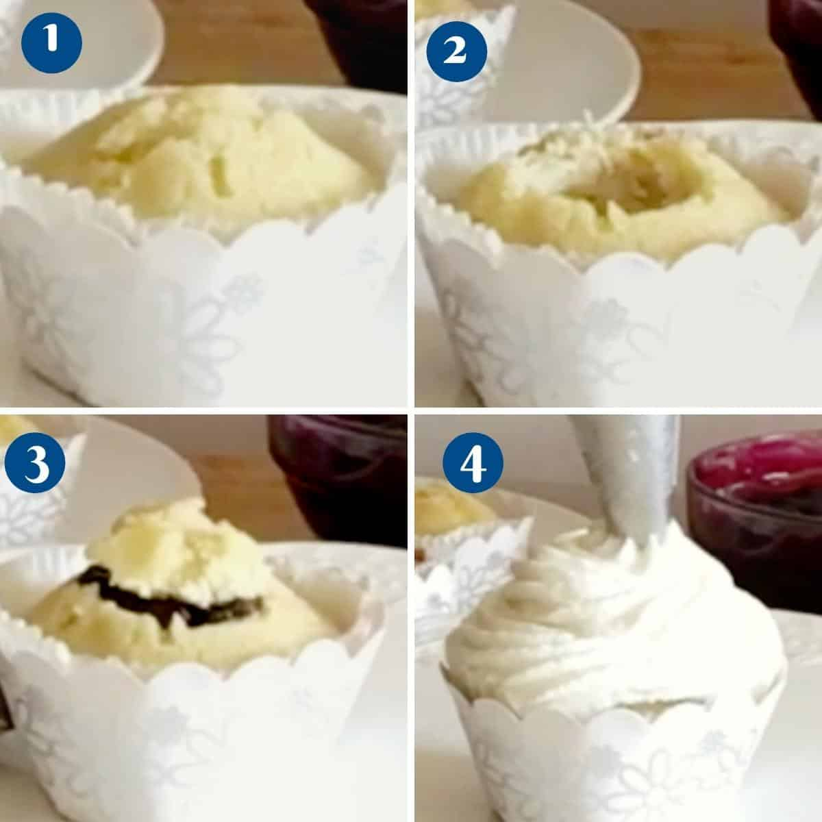 Progress pictures how to filling a cupcake.