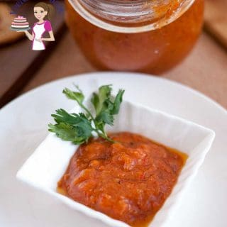 Roasted red pepper tapenade in a serving dish.