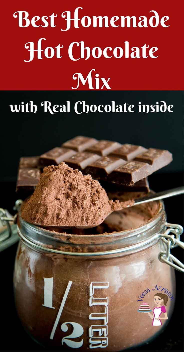 A jar of hot chocolate mix made at home using cocoa powder, real chocolate. Pinterest optimized image featured with chocolate