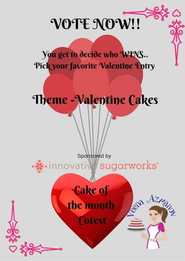 This months Cake of the Month was Valentine Cake Contest. We had lots of entries but only ten finalist. Please vote for your favorite cake so we can ensure the right person gets the Winnings.