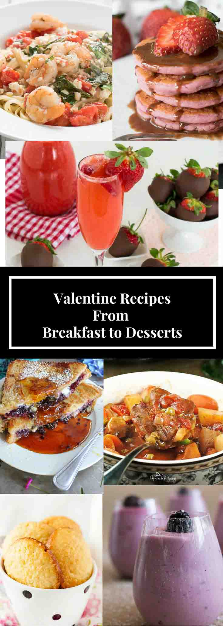 A collage of recipes for Valentine\'s Day.