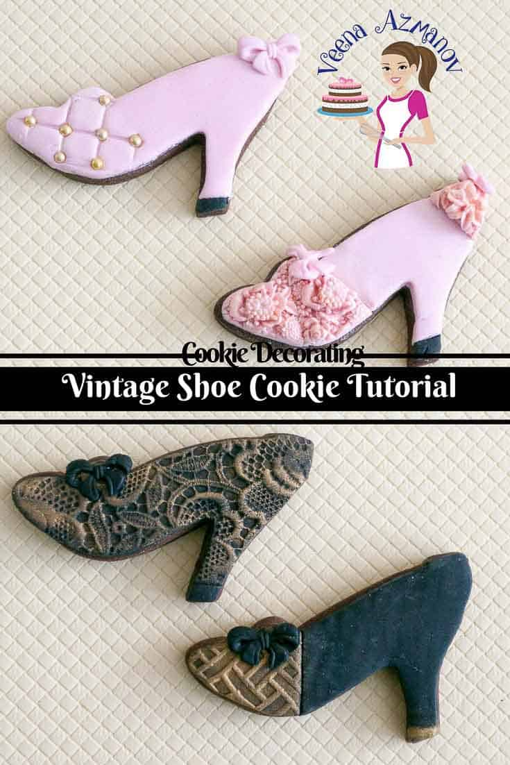 Cookies decorated to look like vintage shoes.